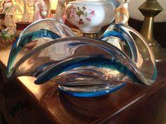 Beautiful 1970's Chalet Art Glass Bowl. A rarer piece in Blue Ribbon.