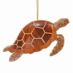 Hawaiian Ornament - Wood Sea Turtle w/ Fins Down (solid)
