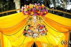 Florida Indian Wedding Decorator, California Indian Wedding Decorator, Yellow and Mustard Chiffon Mandap, Outdoor Indian Wedding Decorator, Suhaag Garden, Aisle Floral Scrolls, Ombre