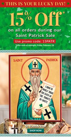 For reproductions of hand painted saint icons, such as this St. Patrick Icons, we ask that you browse the selection at Monastery Icons, today.