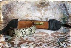 Black Damask Leather and Suede Camera Strap. $45.00, via Etsy.