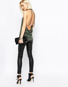 Religion Halter Neck Tank With Beaded Back Detail ($81)