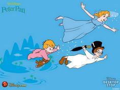 Wendy John And Michael Flying Peter Pan