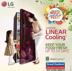 Say goodbye to stale moods. The Great Eastern Trading Company brings to you 'Great Summer Fest'.☃️⛱🌤.Shop LG Refrigerator which has Linear Cooling technology. It keeps everything in it fresh for 14 whole days. Brownie points for door cooling. LG India😍🎉.Visit your nearest GREAT EASTERN TRADING CO store and shop!...#greateastern #greateasterntrading #lgindia #lgappliances #refrigirator #greatsummerfest #discount #summer #offer #shopnow