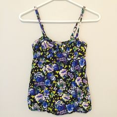 Black and Blue Floral Tank Light weight // comfortable and flowy // beautiful spring/summer colors // adjustable straps // sweet heart neckline // no holes, stains or imperfections // comes from a smoke free environment Bundles welcome Offers welcome through offer button ❌NO trades, please. ⚡️Same/Next day shipping PacSun Tops Tank Tops