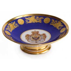 Coronation Service of Tsar Nicholas I: Porcelain Tazza by the Russian Imperial Porcelain Factory  -  Porcelain footed bowl from the Coronation Service of Emperor Nicholas I, with the Imperial state eagle encircled by the chain of the Order of St. Andrew on an ermine-lined mantle.  by The Russian Imperial Porcelain Factory  St. Petersburg, ca. 1826  diameter: 8-7/8 inches