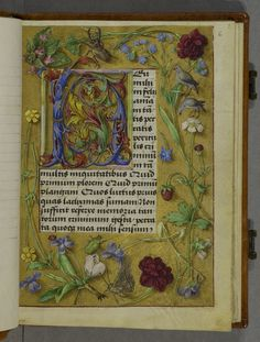"""Prayer book (Leeds University Library. Brotherton Collection MS 11)  1500-1520    """"Decoration: 8 full-page borders in designs of flowers, birds and insects on decorated gold ground. 11-line (or smaller), initials throughout in designs of curved acanthus leaves in colours on decorated gold grounds or on naturalistic landscapes. Several pages have naturalistic floral borders.  Dr J. J. G. Alexander has suggested that the artist might have been Jacob Elsner."""""""
