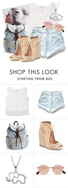 """#177 Denim Shorts"" by charlotte-sk ❤ liked on Polyvore featuring MANGO, Levi's, Aéropostale, Jeffrey Campbell, SOPHIE MILLER, Ray-Ban, jeanshorts, denimshorts and cutoffs"