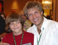 The great and talented Vic Mignogna (Edward elric) with a young Aaron Dismuke (alphonse elric)