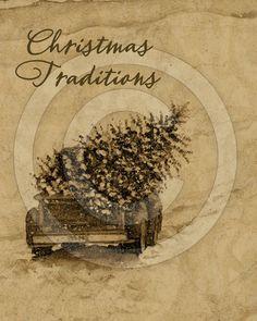 Primitive Christmas Printable  alte LKW von HoneyBeePrintables, $3.00