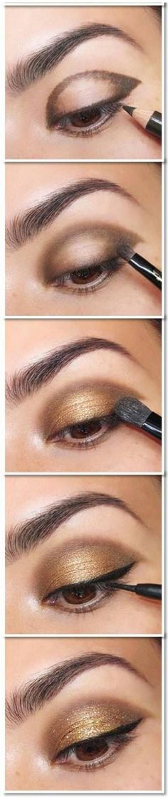 Simple Maquillage Tutoriel d'or des yeux: