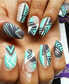 Blue black white matte abstract tribal nails design @vsbnailboutique
