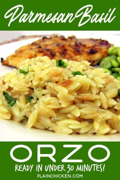 Parmesan Basil Orzo – toss the box and make this delicious side dish! Orzo, chicken broth, basil, butter, garlic, and parmesan cheese – ready in under 30 minutes. Toss in some leftover pork, chicken, or beef for an easy main dish! #pasta #orzo #sidedish