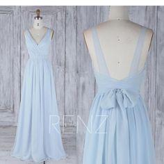 Brautjungfernkleid Hellblau Chiffon Kleid Brautkleid Mit Schärpe Lange Doppelgurte Geraffte V-Ausschnitt Backless Brautjungfernkleider ° º º º º ¨¨¨¨¨ ° º º º ¨¨¨¨¨ ° º º º ¨¨¨¨¨ °° º º ° ¨¨¨¨¨¨ ° º º º º ¨¨¨¨ Hinweis: Die tatsächliche . Backless Bridesmaid Dress, Light Blue Bridesmaid Dresses, Blue Chiffon Dresses, Wedding Dress Sash, Backless Maxi Dresses, Prom Dresses, Formal Dresses, Bridesmaid Gowns, Fall Dresses