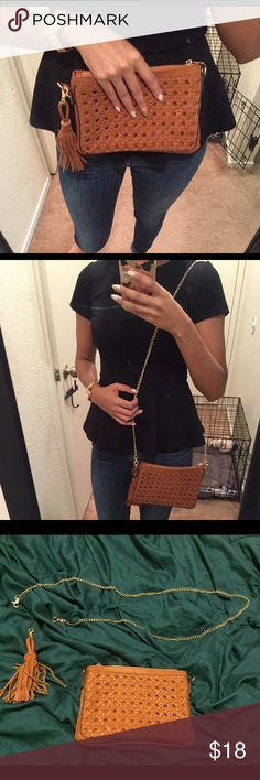 Woven Clutch Cute and simple clutch. Good year round. Camel brown color, detachable tassel and chain strap. Never used. Brand new condition. Street Level Bags Clutches & Wristlets