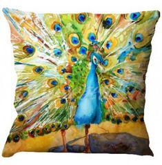 Peacock Printed Cushion Cover