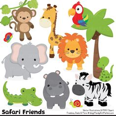 Cute Vintage Jungle Animal Clipart - Cute Safari Clipart, Jungle Animal Vectors, Safari Animal Vectors, Monkey Clipart, Elephant Clipart - My best shares Zebra Clipart, Jungle Clipart, Lion Clipart, Cute Hippo, Cute Giraffe, Cute Monkey, Safari Animals, Baby Animals, Cute Animals