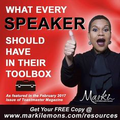 """Are you a speaker or would you like to become a speaker?  We have specially designed a resource just for you - claim your copy of """"What Every Speaker Should Have In Their Toolbox"""" http://today...www.markilemons.com/resources. #ReMarkiTable #speaking #speaker #speak"""