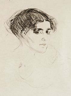 "EDVARD MUNCH, ""WOMAN'S HEAD"" (KVINNEHODE/FRAUENKOPF) Drypoint, 1902/14, signed in pencil, printed by Otto Felsing, Berlin and also with his signature. P. 33,2 x 25,4 cm. S. 57,8 x 42,6 cm."