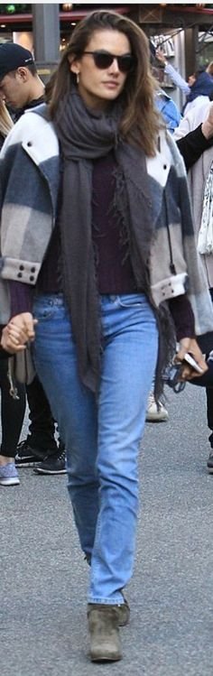 Who made  Alessandra Ambrosio's brown suede ankle boots and gray plaid coat?