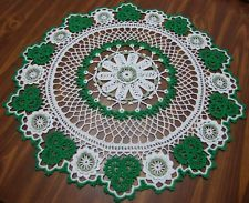 "TAMS ST.PATRICK'S DAY DOILY~SHAMROCK~21""~CROCHETED~GREEN~IRISH~TABLE TOPPER~ E-Bay"