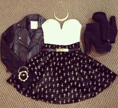 Black Mini Dress with Leather Jacket and Boots fashion dress boots jacket leather style outfit mini trend