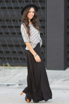 Litas, with flowy maxi skirts... Some big buttons would make it pop