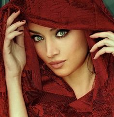 Exotic Makeup for Black Women | ... model Claudia lynx red scarf #veil #beautiful #exotic #blue #eyes