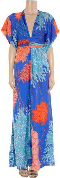 Issa Printed Silk Kimono Maxi Dress In Blue Multicolored