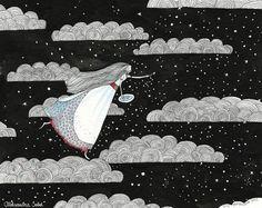 La BELLE DANS les NUAGES illustration originale par olalarte
