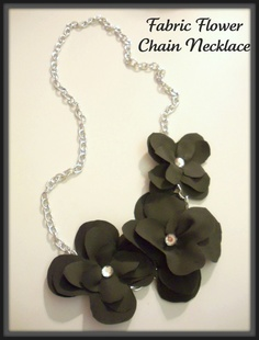 Fabric Flower Chain Necklace