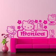 Wall Vinyl Sticker Decals Decor Art Bedroom Kids Design Mural Custom Name  Words Hello Kitty ( Part 38