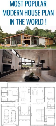 Most popular modern house plan ! Home Plan, Floor plan, House Plan, architecture - - The Plan, How To Plan, Architecture Résidentielle, Modern Residential Architecture, Bedroom Floor Plans, Small House Plans, Modern House Floor Plans, Beach House Floor Plans, House Layouts