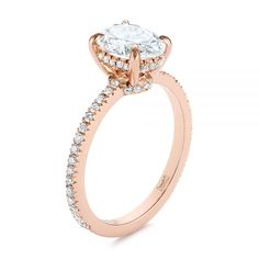This gorgeous engagement ring features an oval diamond prong set in rose gold at the top, accented with split prong set diamonds on the band and on the lower sections of the main setting. Designed and created by Joseph Jewelry Oval Diamond, Diamond Bands, Lab Created Diamonds, Lab Diamonds, Round Diamonds, Diamond Engagement Rings, Design Your Own Engagement Rings, Gold Rings, Rose Gold