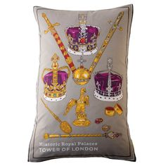Vintage Royal Crown Cushion Upcycled Tea Towel Pillow £60.00