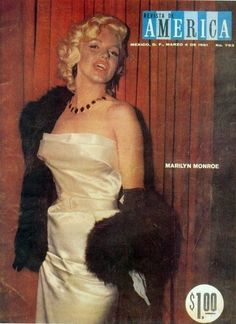 ❤ Marilyn Monroe ~*❥*~❤ at the Cinerama party at the Coconut Grove, January 1953. Revista de America magazine, March 4 1961, Mexico.