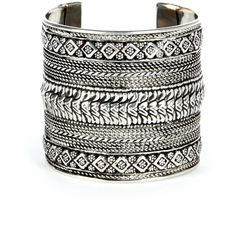 Sole Society Etched Cuff ($24) ❤ liked on Polyvore featuring jewelry, bracelets, pulseiras, antique silver, tribal jewellery, sole society, cuff jewelry, cuff bangle and tribal jewelry
