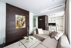Apartment, Awesome Minimalist Design Style 60 Square Meter Apartment By Alexander Fedorov With Big Sectional Sofa Facing And Tiny Glass Coffee Table Plus Flower Decor Brown Wooden Walls Together Abstract Painting Watercolor: 32 Wonderful Modern Interior Ideas