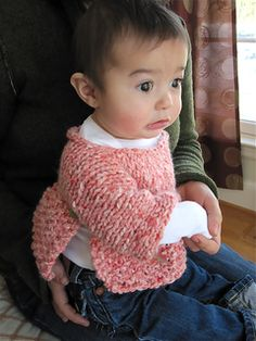 This is an adorable and fast knitted baby sweater using only 1 skein of yarn. Knit on size US11, it is knit all in one piece and then folded over with minimal sewing. Have to go to a girl baby shower tomorrow? No problem… get some ribbon or a couple of buttons, a few hours knitting, and you've got the cutest baby sweater on the block. Nothing fussy.