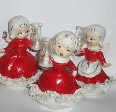 Vintage Trio Christmas Angel Girl Lanterns Porcelain Figurine Spaghetti Trim Hurrican Ornament  Japan Lefton Napco Decoration Pixie elf
