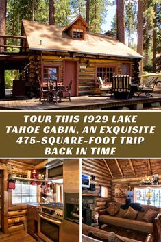 Tour this 1929 Lake Tahoe cabin, an exquisite 475-square-foot trip back in time - You HAVE to check out the double porch with a tree, great feature :) Cabin Inspiration | Log Cabin | Rustic Cabin | Tiny Home #rusticcabin #cabin