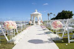 Ombre pink petal ceremony aisle at Kahala Hotel  by Passion Roots | Oahu | Honolulu, Hawaii Florist | Rachel Robertson Photography
