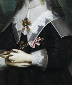 Portrait of Queen Henrietta Maria in mourning, Detail. (1650) by Cornelis Janssens van Ceulen (1593–1661)