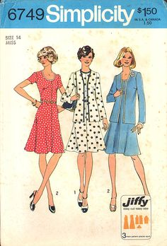 1974 Vintage Simplicity Pattern 6749, Sizes 14, Misses' Jiffy Unlined Cardigan and Dress