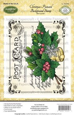 Christmas Postcard Cling Background Stamp