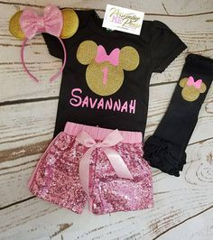 Minnie Mouse Birthday Outfit, Girls Birthday Outfit, Gold and Pink Birthday Outfit, Sequin Shorts Birthday Outfit Minnie Mouse Birthday Theme, Baby Girl 1st Birthday, Minnie Mouse Pink, Minnie Mouse Party, Little Girl Swag, Little Girl Fashion, Mouse Outfit, Birthday Party Outfits, Kids Frocks