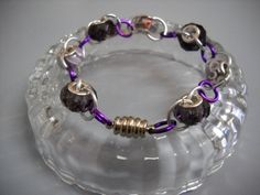 PURPLE and SILVER Links and Charm Beads Bracelet by Beads4You2008, $10.50