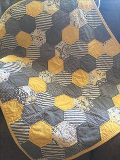 Yellow & Grey Hexagon baby quilt