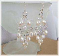 Handwired Bridal Chandelier Earrings, Silver Wire Pearl Crystal Chandelier Earrings with Freshwater Pearls
