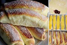 Vůně domácího pečiva je neodolatelná. Jemné, sladké rohlíky, plněné marmeládou, nutellou, kakaem, čokoládou nebo pudinkem. Macedonian Food, Vanilla Cream, Powdered Sugar, Graham Crackers, Hot Dog Buns, Sour Cream, Nutella, Baked Goods, Sweets